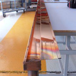 Kupfer Kastenrinne mit Einlaufblech 7,10 m Gesamtlänge